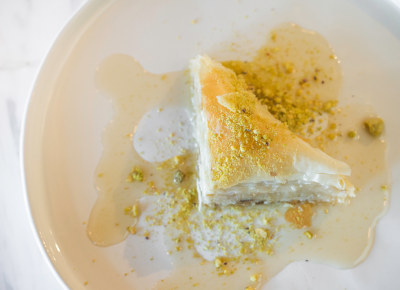 Laziz's pastry case is full of goodies like housemate baklava ($4). Photo: Talyn Sherer