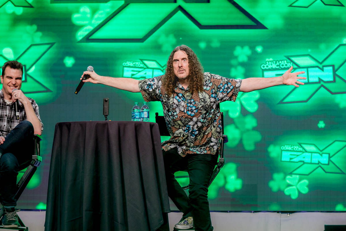 "Weird Al Yankovic declares, ""Look upon me!"" after a fan tells him it is their first time seeing him in person. Photo: Lmsorenson.net"