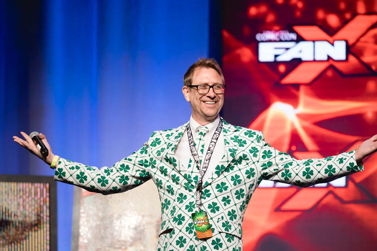 Host Chris Provost sporting a shiny new St. Patrick's Day jacket while kicking off the festivities in the Grand Ballroom. Photo: Lmsorenson.net