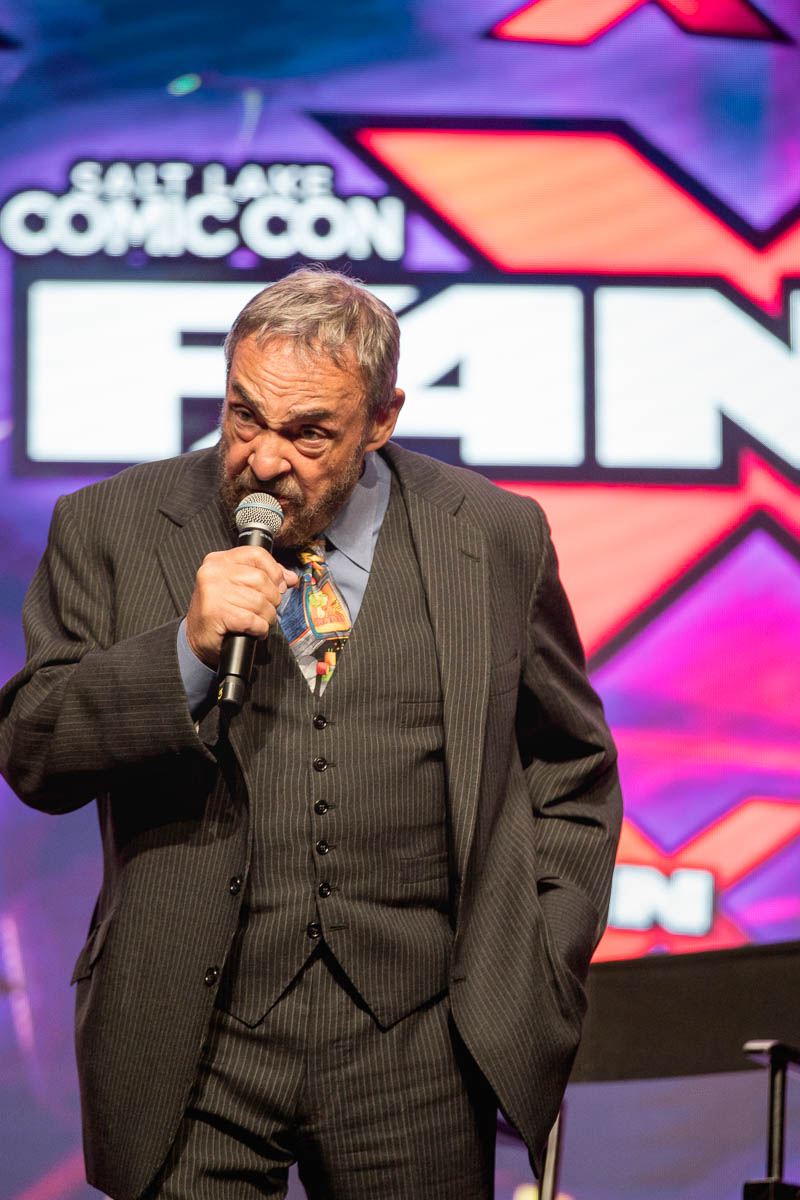 Actor John Rhys-Davies enlightens audience members about population trends and how he is encouraged about people investing into the sciences. Photo: Lmsorenson.net