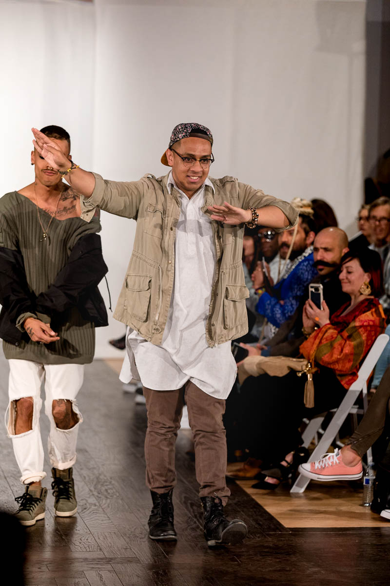 Designer Robin Uata takes a walk on the runway after his selection premieres. Photo: Lmsorenson.net