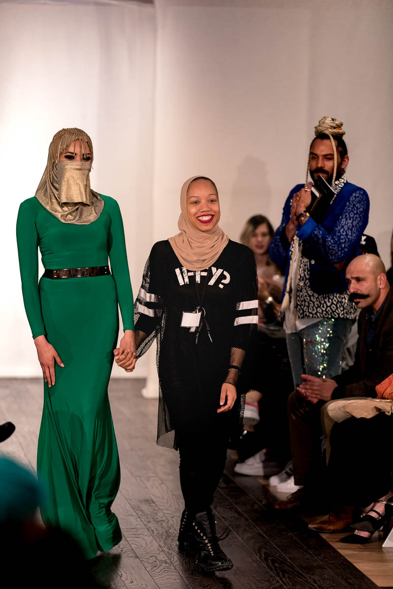 Designer Ayana Ifè (R) with a model in a fabulous green gown. Photo: Lmsorenson.net