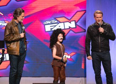 Chris Sarandon and Cary Elwes invite a young Inigo Montoya onstage to ask a fan question. Photo: Lmsorenson.net