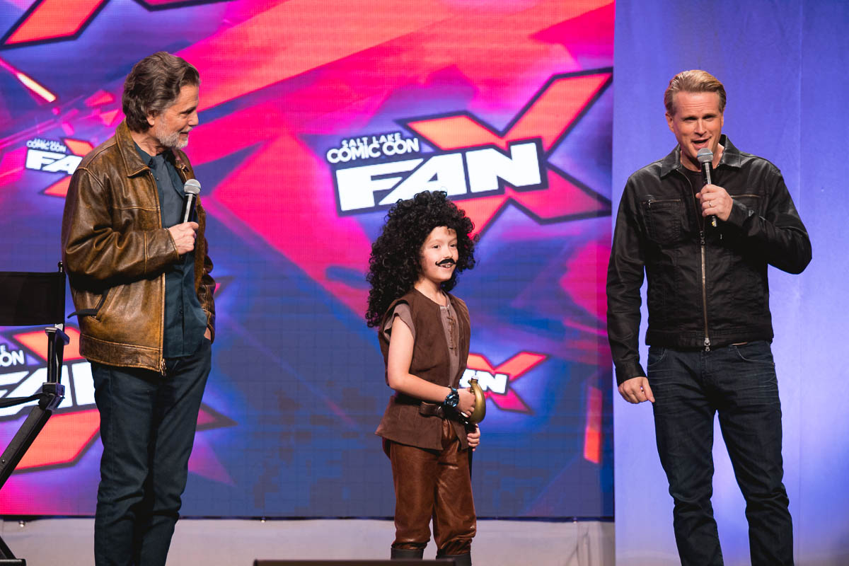 Chris Sarandon and Cary Elwes invite a young Inigo Montoya onstage to ask a fan question. Photo: Lmsorenson.net