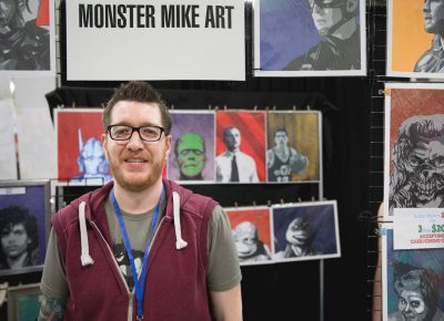 Monster Mike Art in the Artist Alley with his collection of spray paint portraits of popular characters. Photo: Lmsorenson.net