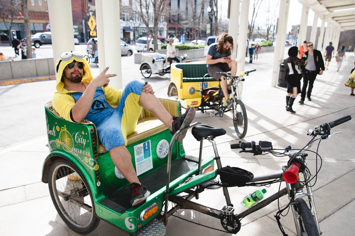 As the hungry and tried cosplayers come out of the Salt Palace, there is always a ride if they need it from Alejandro Marticorena of Salt City Cycle and other such drivers. Photo: Lmsorenson.net