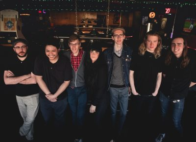(L–R) Ken Vallejos, John Hoang, Devon Wooley, Lauren Hoyt, Clark Holzworth, Christian Lucy, Nick Fleming. Photo: LmSorenson.net