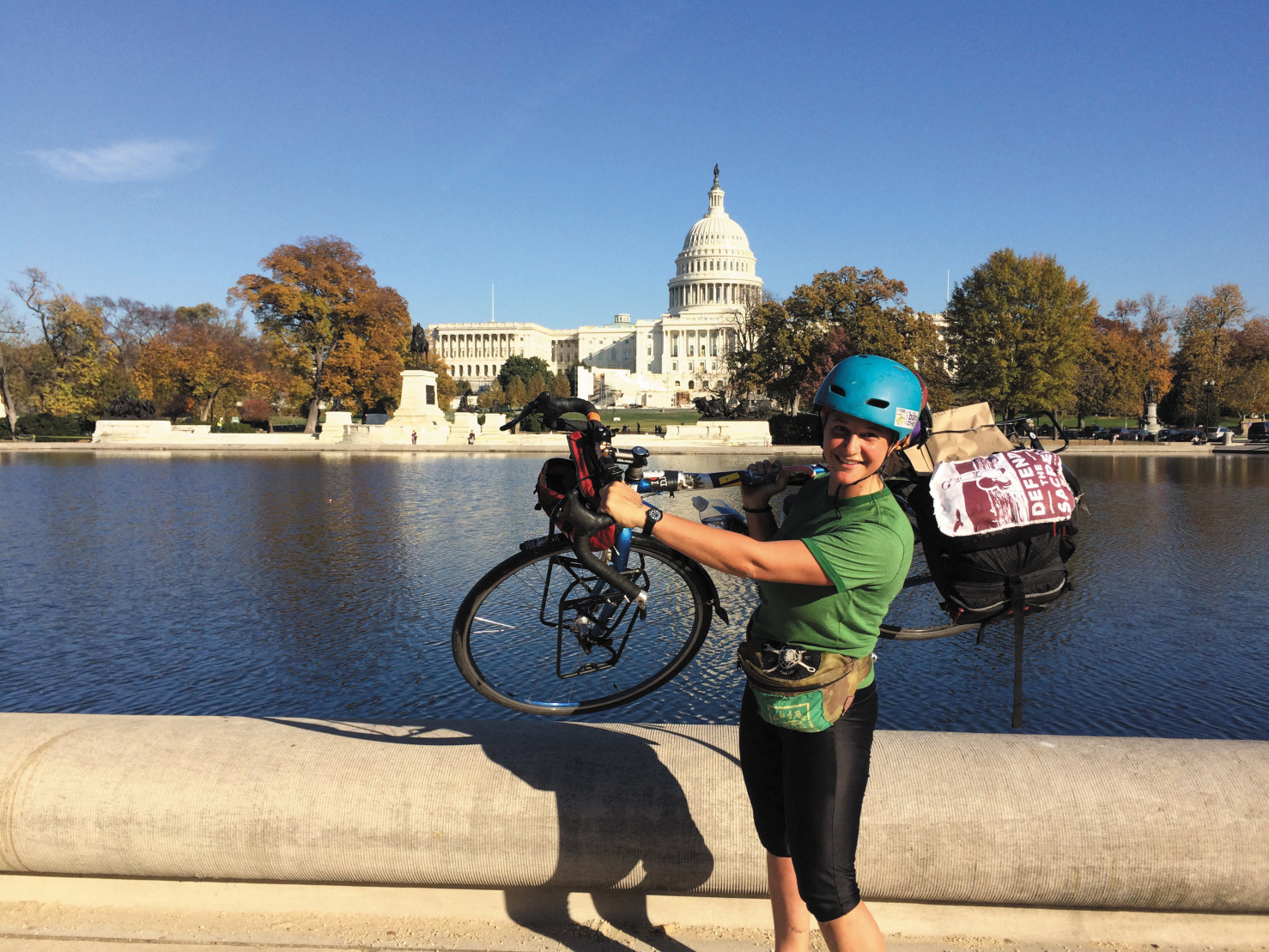 Erika Longino has created synergy in her transcontinental bicycle tour with sustainability and social activism, mycology and food education. Photo courtesy of Erika Longino