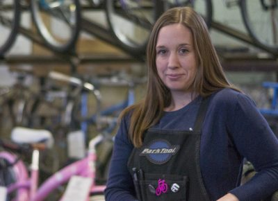 Since the OBC is a nonprofit that runs off of bike donations, they're always looking for bikes that they can refurbish and sell—even the more worn-out bikes may have good parts to sell. Photo by Chris Kiernan