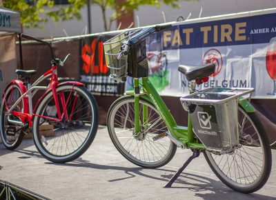 GREENbike, one of the awesome sponsors of the SLUG Cat, and the prize for the first participant to complete the course: a New Belgium bike. Photo: @ca_visual