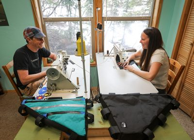 (L–R) Equipped with sewing skills and a love for bikepacking, Josh and Jacquelyn Van Jura create custom, versatile accessories as Broad Fork Bags. Photo: John Barkiple