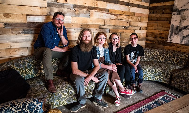 (L–R) Jake Buntjer, Nick Thurber, Sara Faulkner, Ali Montgomery and Beckafer de Faux. Photo: Gilbert Cisneros