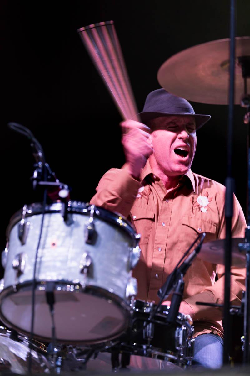 Drummer Matt Lynott of White Buffalo slamming down the beat for the folk outlaw feel. Photo: Lmsorenson.net