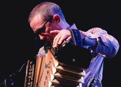 Matt Hensley of Flogging Molly providing the essential accordion sound to the stage. Photo: Lmsorenson.net