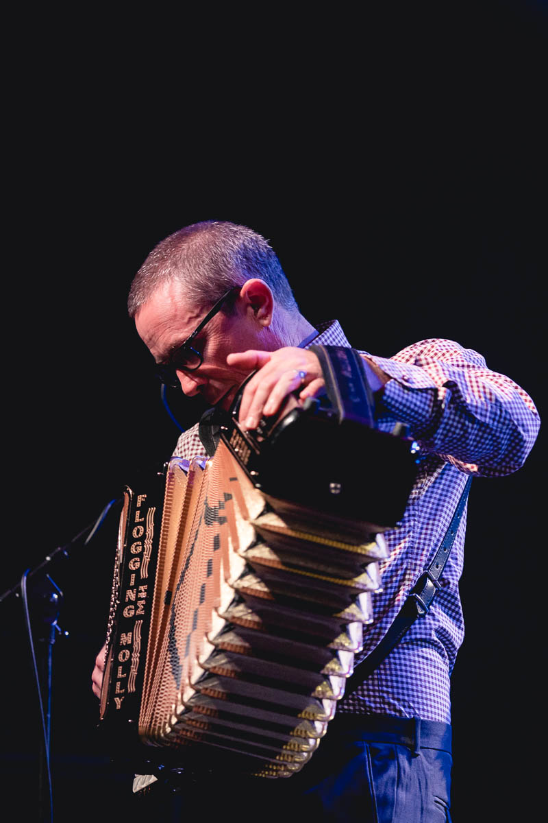 Matt Hensley of Flogging Molly providing the essential accordion sound to the stage. Photo: Lmsorenson.net