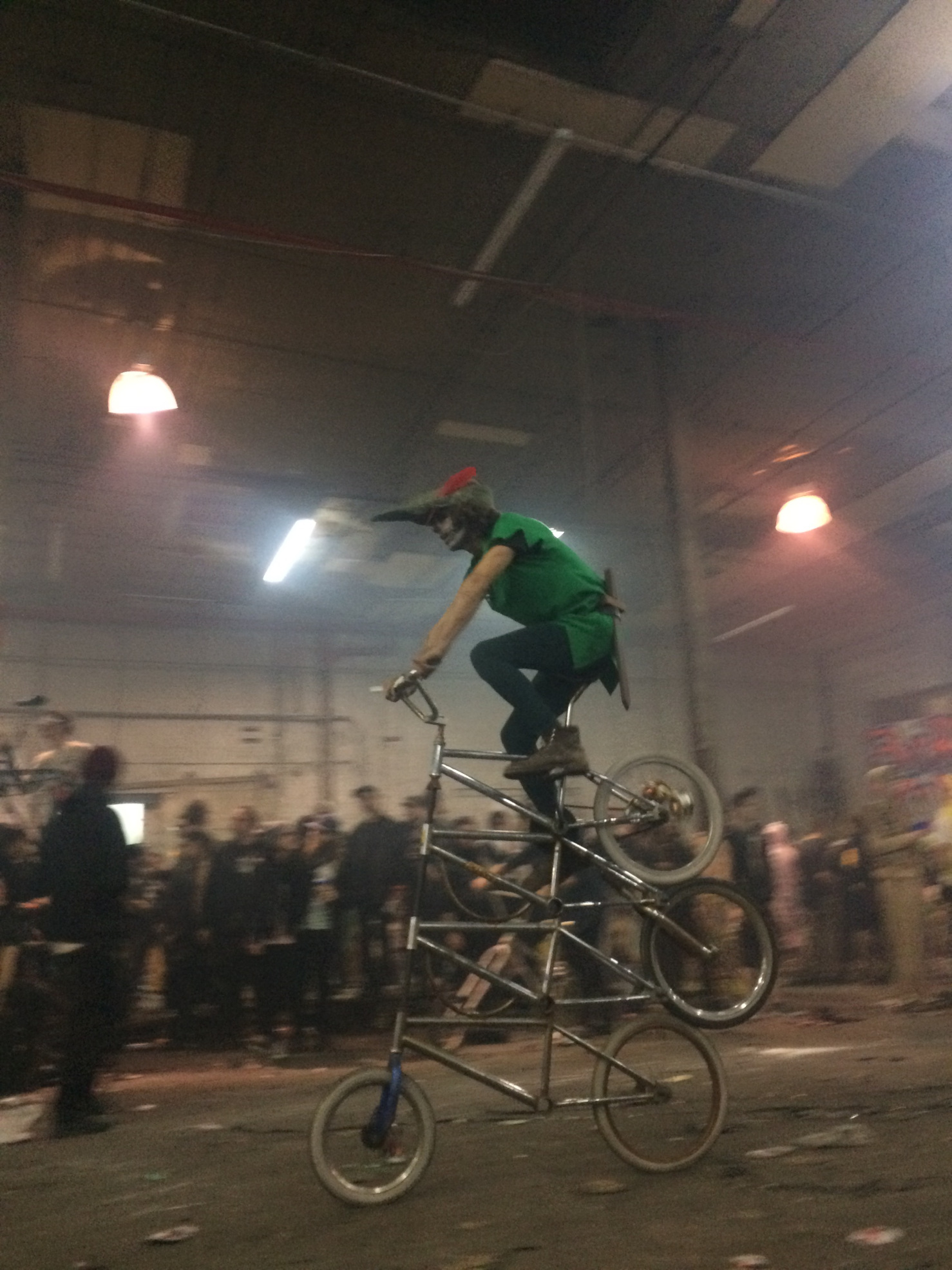 Bike Kill 2016. Bushwick, Brooklyn, New York. This quadruple tall bike was one of the many ingenious and freaky bicycles at the Halloween event. Photo courtesy of Erika Longino.