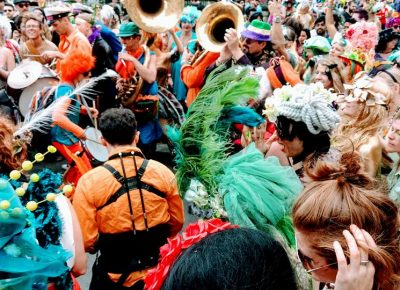 In the thick of colorful and vibrant Mardi Gras soup. Photo courtesy of Erika Longino.