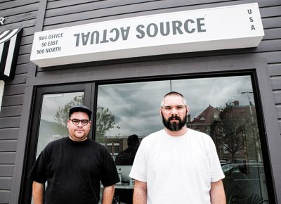(L–R) Davis Ngarupe and JP Haynie, graphic designers and founders of the Provo-based studio and publisher Actual Source. Photo: Gilbert Cisneros