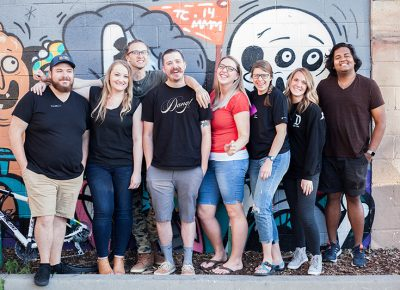 (L–R) Even Stevens' Kyle Bell and letterers Danelle Cheney, Jordan Youngberg, Bryson Arnold, Kylie Dunkley, Bre McCallum, Tayler Mitchell and Noah Kuddus. Photo: Jessica Bundy