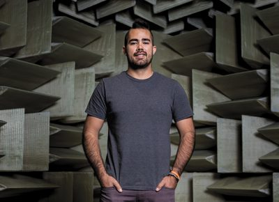 Skullcandy Sr. Manager of Product Experience Sam Noertker stands in the headphone company's anechoic chamber. Photo: LmSorenson.net