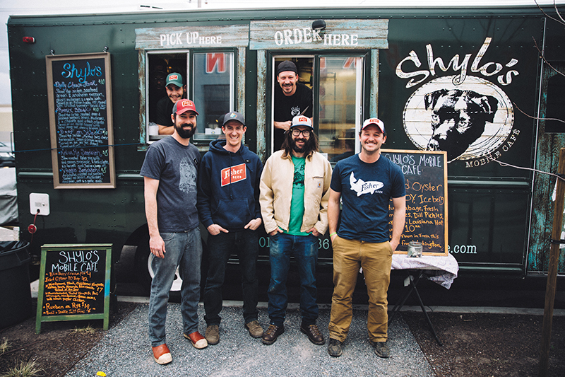 (L–R) Shylo's Dwaine Blackwell, Jon Nunez, Trent Campbell, top, and Fisher co-owners Tommy Fisher Riemondy, Tim Dwyer, Colby Frazier and Steven Brown, bottom, combine brewery and food truck forces. Photo: johnnybetts.com.