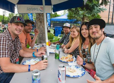 Dave, Mike, Ned, Kristen, Dana and Jared grab a table and a bite to eat at inside the fabulous sponsor area at Ogden Twilight. Photo: Lmsorenson.net