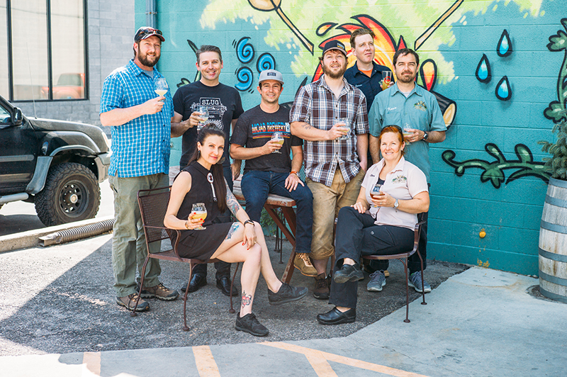 (L-R) Kevin Crompton of Epic Brewing, John Ford and Angela H. Brown of SLUG Magazine, Scott Davis of Moab Brewery, Rio Connelly of Proper Brewing, and Jaron Anderson, Shantel Stoff and Kevin Templin of Red Rock Brewing Co. Photo: @clancycoop.