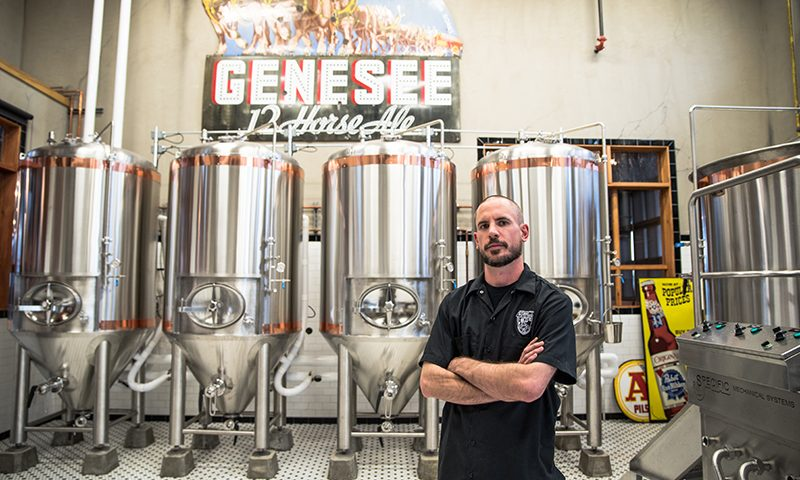 Head Brewer Michael Dymowski aims for nuance and drinkability, layered with malt or hop depth, for Strap Tank's releases. Photo: Gilbert Cisneros.
