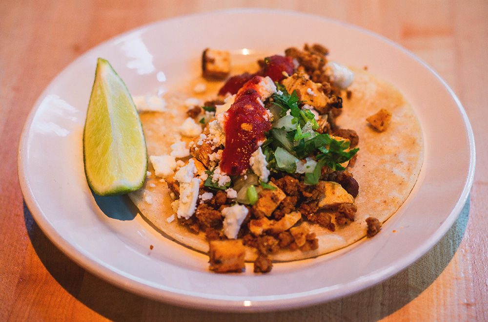 Delicious build-your-own chicken street tacos courtesy of Squatters. Photo: Talyn Sherer