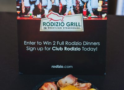 The infamously decadent Rodizio's Grill brought out their chicken wrapped in bacon with the glazed pineapple chaser.