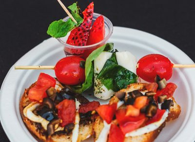 Redstone Olive Oil provided us with a trio platter consisting of caprese salad skewers, crostinis with garlic spread and a strawberry with mint and chocolate balsamic glaze. Photo: Talyn Sherer