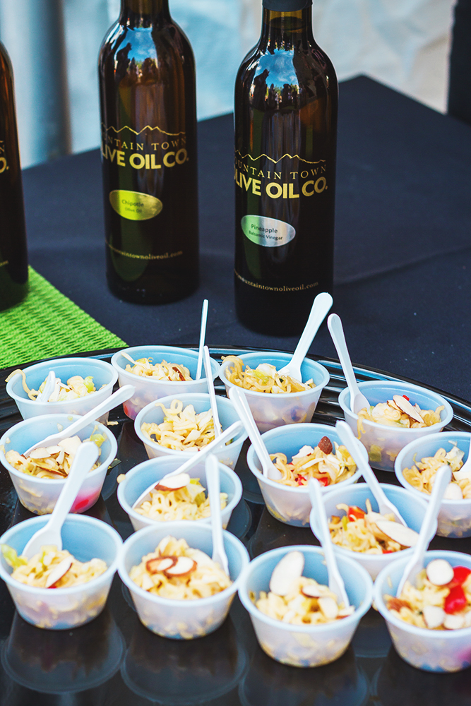 Mini noodle cups with almonds and peppers paired great with the Mountain Town Olive Oil. Photo: Talyn Sherer
