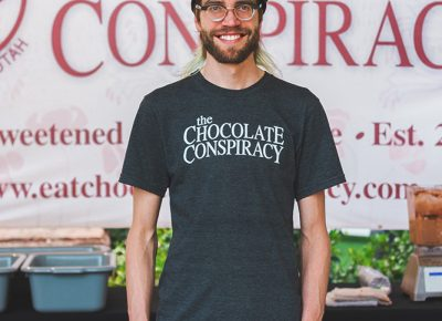 Aj Wentworth is the creative genius behind Chocolate Conspiracy, where he sampled out a blended chocolate smoothie for fellow Tastemaker foodies. Photo: Talyn Sherer