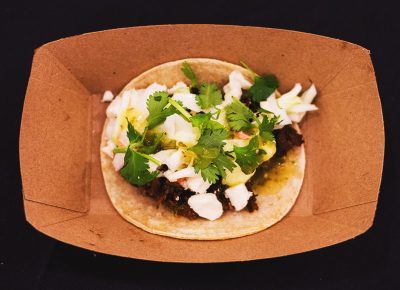 R&R BBQ did not hold anything back with these amazing sweet BBQ brisket tacos topped with feta, coleslaw, tomatillo salsa and a cilantro garnish. Photo: Talyn Sherer