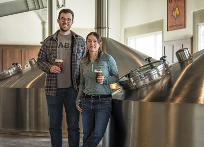 (L–R) Uinta Head of Research and Development Isaac Winter and Brewmaster Tanael Escartín synthesize creative brew ideas for large-scale craft beer output. Photo: ColtonMarsalaPhotography.com.