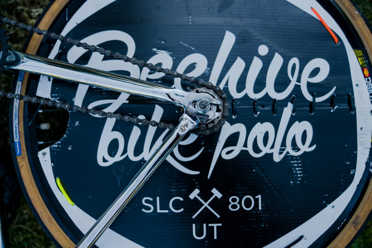 The Beehive Bike Polo logo covering the spokes of the bike tire so the ball doesn't get stuck. Photo: Jo Savage // @SavageDangerWolf