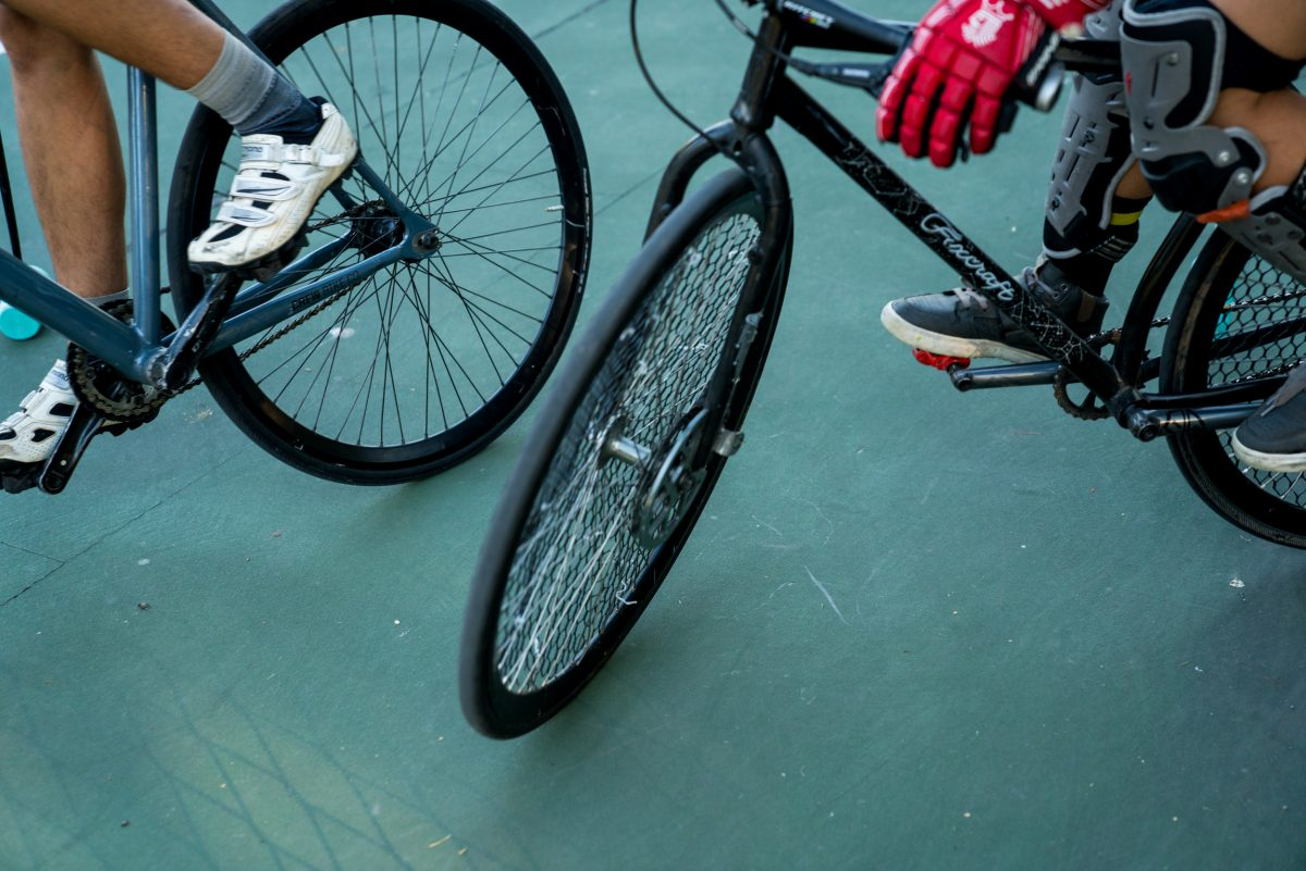 Common bike polo protective gear setup for hard court play. Photo: Jo Savage // @SavageDangerWolf