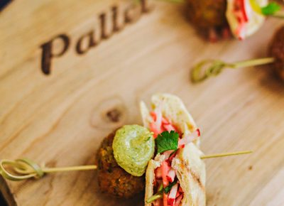 Pallet had me returning for seconds and thirds with their samplings of the herbed falafel with house-made pita, spicy green tahini sauce and a herbed salad with picked radish. Photo: Talyn Sherer