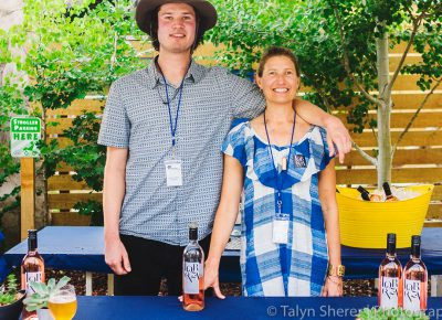 (L–R) Melinda Kearney and her son Stefan Ouellette have been crafting rose wine, and only rose wine, for the past few years, perfecting every bottle as they go. Photo: Talyn Sherer