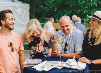 (L–R) Lucas Newman, June Ropp, Matthew Pettit and Laura Kramer all share a good laugh while enjoying some tasty drinks. Photo: Talyn Sherer