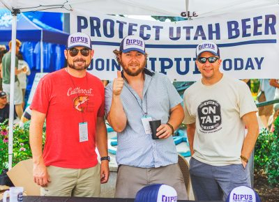 (L–R) Steve Mills, Rio Connelly and Mike Johnson of IPUB came out in full force to get the public on board with effecting reasonable changes to legislators' decisions to add more restrictions to responsible drinkers and brewers. Photo: Talyn Sherer
