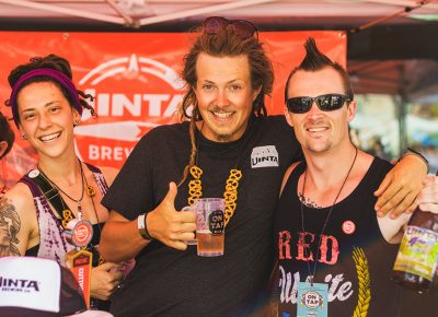 (L–R) The Uinta squad, consisting of Cheyanne Robinson, Slade Dahlen and Derik DeBoard were generous enough to sample their award-winning Croggy Brett. Photo: Talyn Sherer
