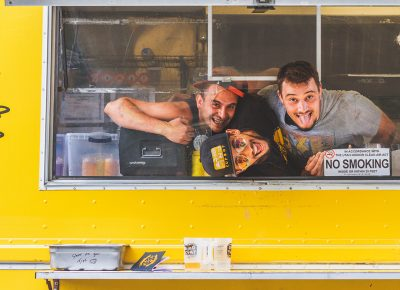 (L–R) Vance Trojillo, Corey Beltran and Zachary Workman of CupBop fed our bellies while we drank the day away. Photo: Talyn Sherer