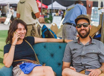 (L–R) Hellen Finch and Nic Hummel chill on the sofas with their SaltFire Brewing swag. Photo: Talyn Sherer