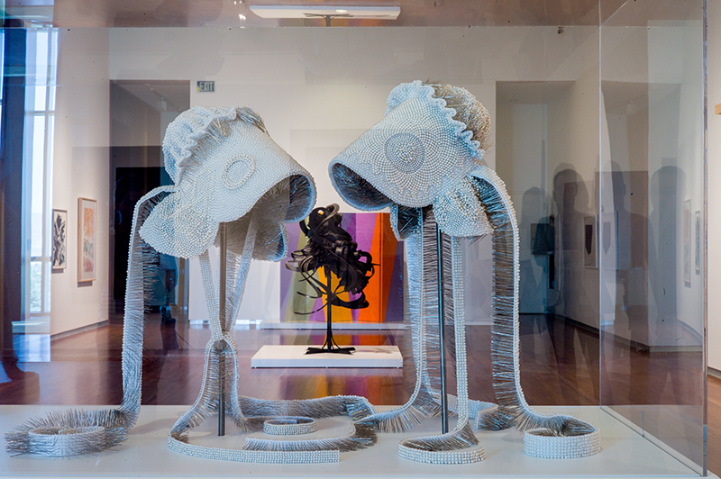 (Center, front to back) Angela Ellsworth, Seer Bonnet series (2010); Chakaia Booker, Discarded Memories (2008); Anna Campbell Bliss, Celebration (1985). Photo: @clancycoop