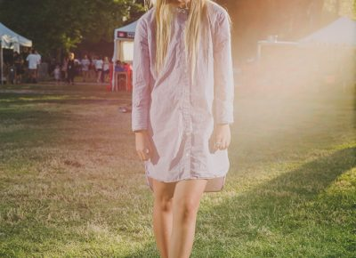 Izzy Forrest sewed the side seam on this X-large shirt to make a dress. Photo: @clancycoop