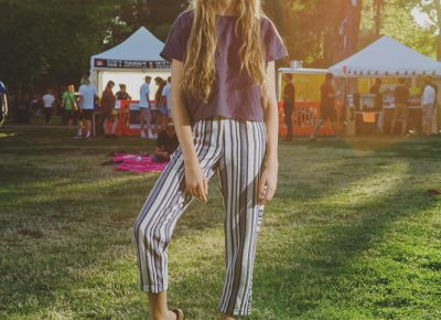 Lillian Rothey's striped pants and long hair lent a very unique look. Photo: @clancycoop