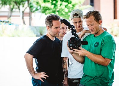 Dustin and the boys checking the footage. Photo: Niels Jensen