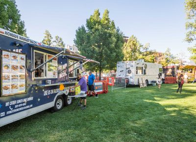 People enjoy the summer sun and their pick of Utah food trucks. Photo: ColtonMarsalaPhotography.com