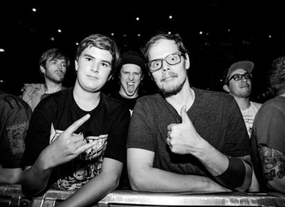 Max and Dean were up in the front waiting for the Bronx to start their set. Photo: Gilbert Cisneros